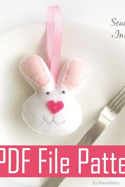 Bunny Sewing pattern - PDF ePATTERN - Felt Bunny mini plush, Valentine day Bunny A323