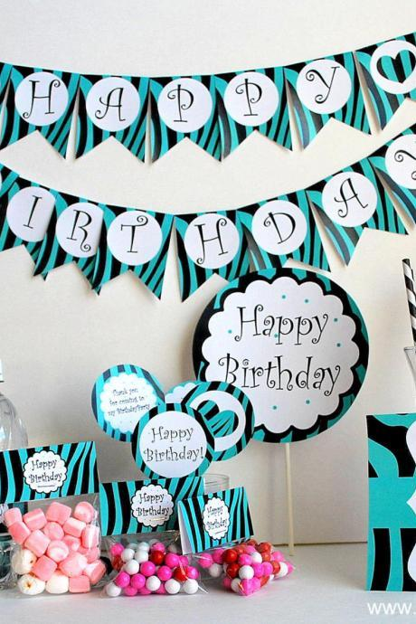 Zebra PRINTABLE Party Birthday Package - Black and Turquoise set - PDF File A497