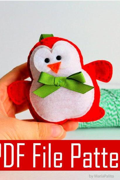 Christmas Penguin Sewing pattern - PDF ePATTERN Christmas Ornament A509