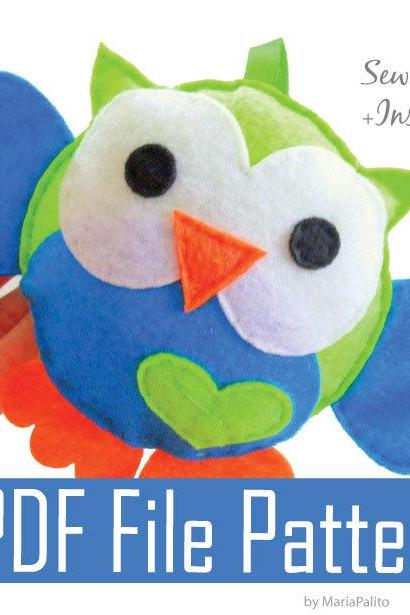 Baby Owl Sewing pattern - PDF ePATTERN for Felt Owl Toy Pillow A325