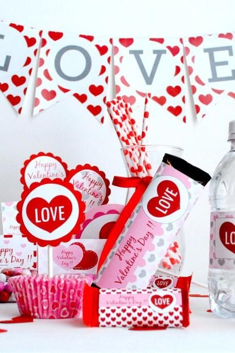 Party - Sweet Love Valentine Full Printable Collection PDF file , DIY party set A489