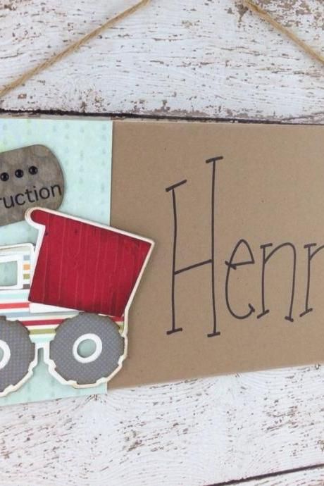 Personalized Children's Door Sign Dump Truck