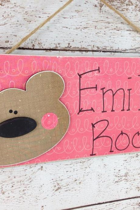 Personalized Children's Door Sign Bear Face