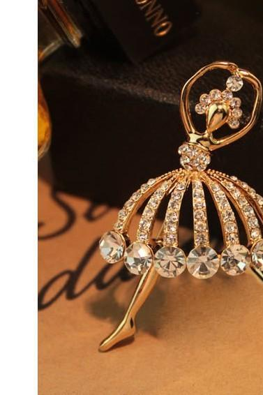 Elegant rhinestone crystal ballet dancer brooch pin