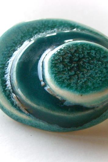 Ceramic brooch turquoise and jade