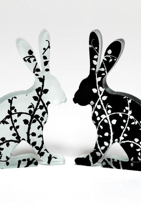 Black Vine Glass Hare Pair Sculpture
