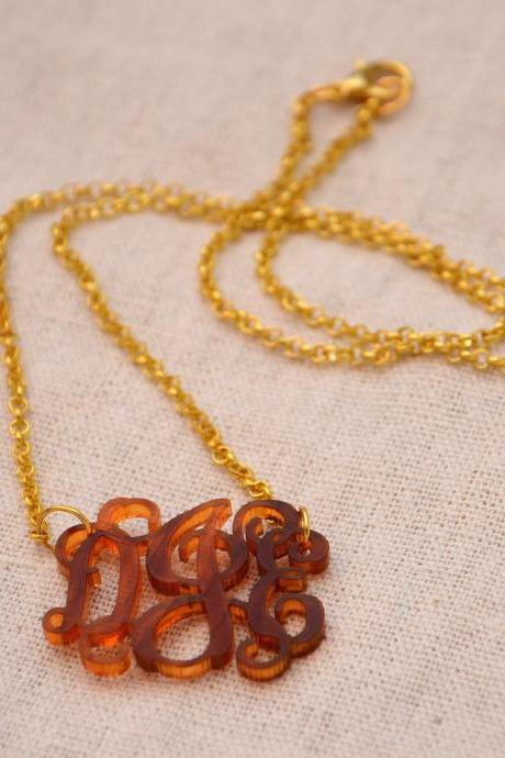 3 Initials Monogram Necklace - 1 inch Vine Personalized Monogram Turtoise Acrylic Custom Lasercut A B C