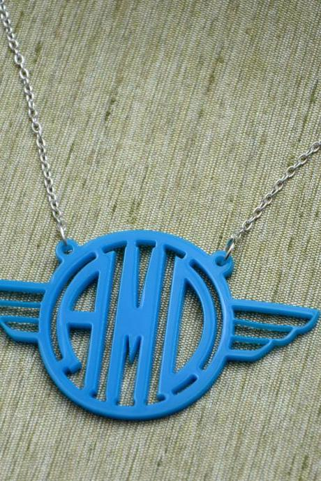 Flying Wings Circle Font Monogram Necklace - Personalized Monogram Gift