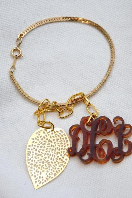 3 Initials Monogram Bracelet with golden Leaf - 1.5 inch Vine Personalized Monogram Acrylic Custom Lasercut