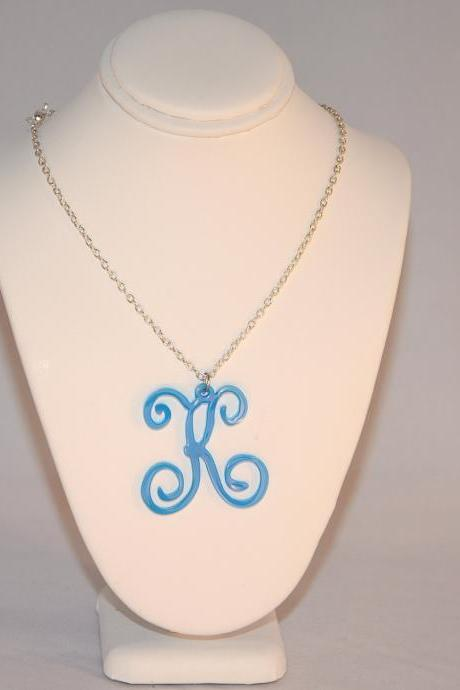 1 Initial Letter Necklace - 1.5 inch Personalized Monogram Custom HandMade