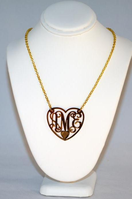 3 Initials Monogram Necklace Heart Love - 1.5 inch Vine Personalized Monogram Acrylic Custom Lasercut
