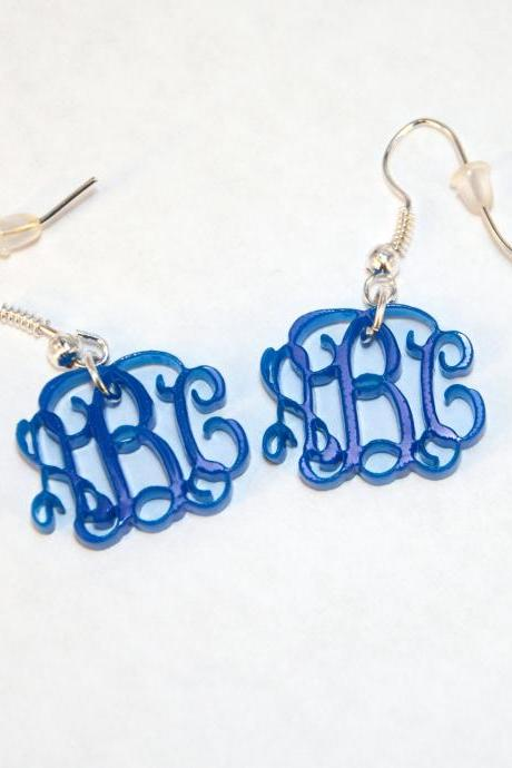3 Initials Monogram Earrings - Vine Personalized Monogram Acrylic Custom Lasercut