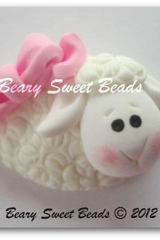 Easter Lamb 1 Pink Bow NO HOLES
