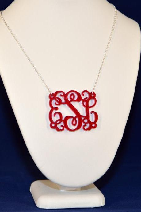 Monogram Necklace - 1.5 inch Vine Personalized Monogram Acrylic Custom Lasercut