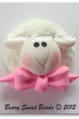 Easter Lamb Pink Bow 2 NO HOLES