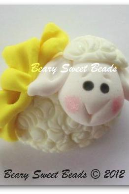Easter Lamb Yellow Bow NO HOLES
