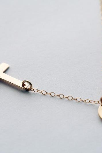 Gold Sideways cross necklace with initial charm,Gold Filled,Initial necklace,Blessed,Personalized initial,Everyday,horizontal cross,