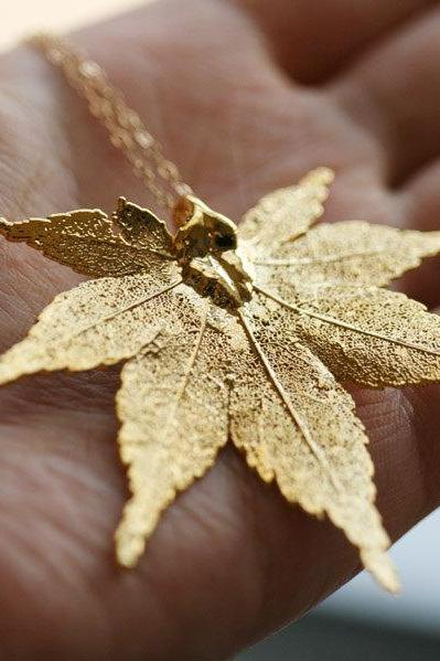 Large Real Maple Leaf necklace 24k Gold,14k Gold Filled necklace,Real leaf,Jewelry,Wedding Jewelry,Mother's Jewelry,