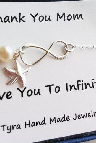 Mother infinity love bracelet,starfish bracelet,beach wedding,Mother jewelry,Mother of groom,Custom birthstone,Thank you card,greeting