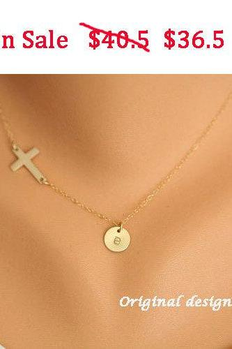 SALE-Gold Sideways cross necklace with initial charm,Gold Filled,Initial necklace,Blessed,Personalized initial,Everyday,horizontal cross,