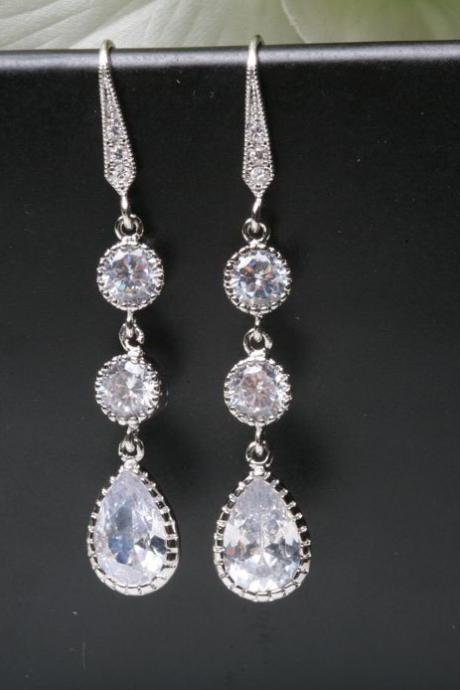 Bridal Earrings Cubic Zirconia Ear Wires,Cubic Zirconia teardrop,bridesmaid earrings,dangle earrings,wedding jewelry