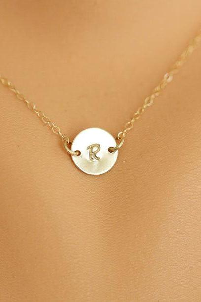 Tiny Monogram Necklace, GOLD Initial Disc Charm Necklace,Small initial letter charm,Bridesmaids Gifts, Mother's Jewelry,Daily Jewelry
