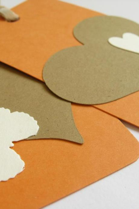 Kraft Hearts on Apricot gift tag bookmarks (set of 2)