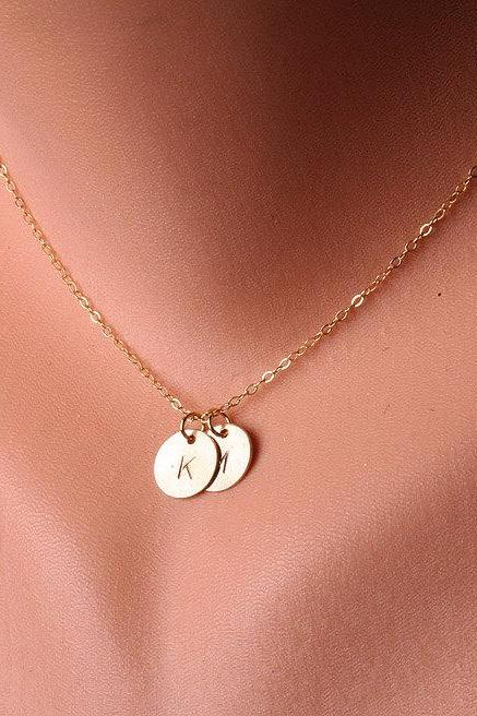 Personalized,TWO Initial Necklace,14k GOLD Filled, Family, Couple,Birthday,Best Friend, Kid, Sisterhood, Mother's Jewelry