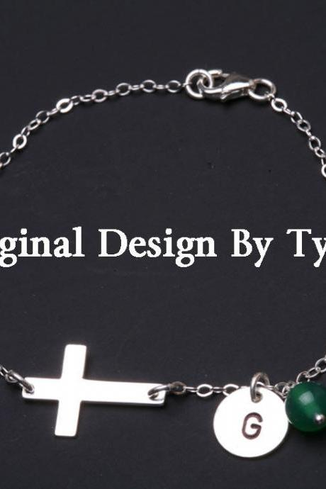 Sideways cross bracelet,Initial bracelet,Personalized bracelet,Sterling silver cross,blessed,everyday jewelry,daily jewelry