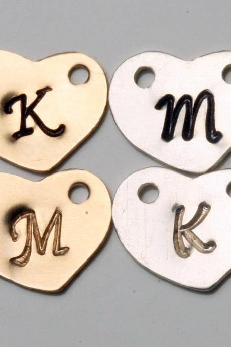 Add a gold filled OR sterling silver heart initial letter charm,monogram charm,personalized