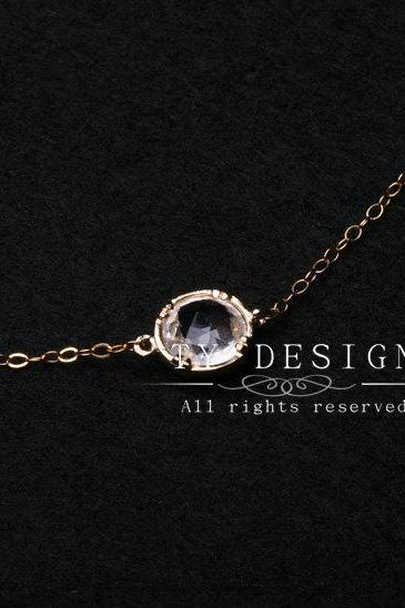 Tiny Pendant Gold Fill Necklace,Cubic Zirconia stone,Stone in Bezel,Everyday Jewelry,Bridesmaid Gifts,Wedding jewelry