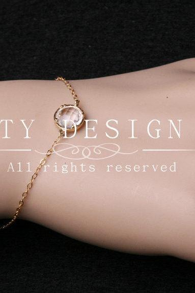 Tiny CZ stone Bracelet,Everyday Jewelry,Gold Fill bracelet,Bridesmaid gifts,Birthday,Anniversary,Stone in bezel,Chic love