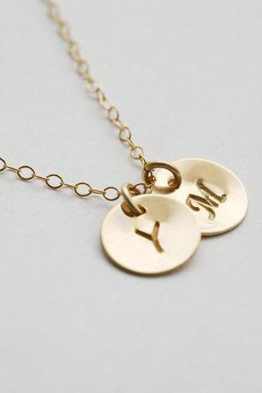 Two Initials GOLD Fill Necklace, Customize Monogram Necklace, Simple daily jewelry,Wedding Jewelry, Best friends Necklace, Mothers Jewelry