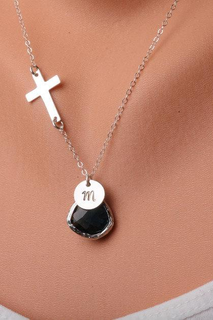 Cross necklace,Blessed necklace,Small Sterlingn silver Cross,Custom initial and birthstone,Original design,birthday