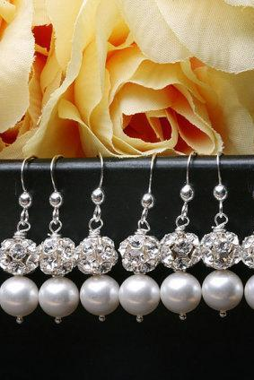 Set of 8,Bridesmaid Jewelry,Pearl and Rhinstone Earrings,Wedding Jewelry Set,Bridesmaid gifts,Wedding Jewelry,Maid of Honer,flower Girl