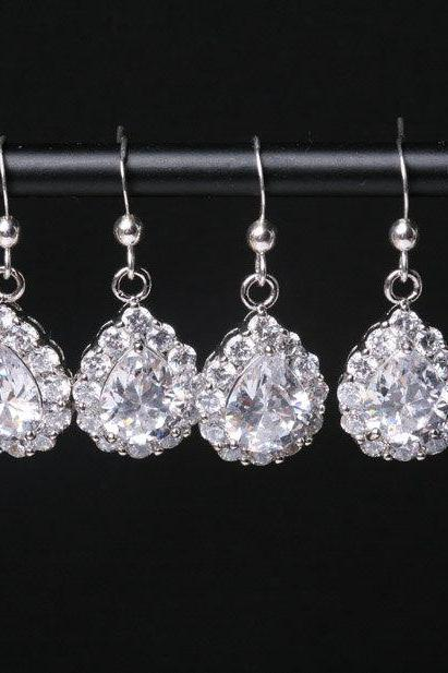 Set of 4,Bridal Earrings Cubic Zirconia Ear Wires,Cubic Zirconia Tear Drop Earrings,bridesmaid earrings,dangle earrings,wedding jewelry