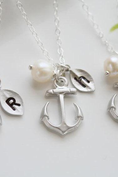 Set of 4,Anchor Necklace,Anchor with leaf initial,Pearl,Sailors Anchor,Wedding Jewelry,Bridesmaid gifts,daily Jewelry,strength,