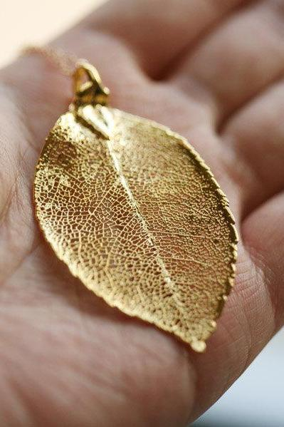 Large Real Laurel leaf necklace 24k Gold,14k Gold Filled necklace,Real leaf Jewelry,Wedding Jewelry,Mother's Jewelry