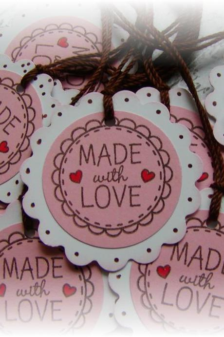 Made with Love - round scalloped tags (10)