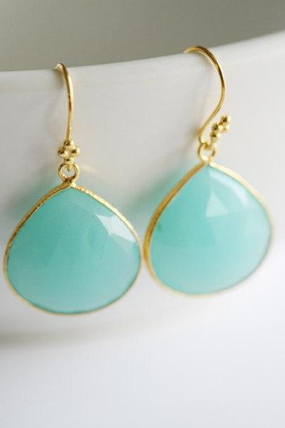 Real Aqua chalcedony Earrings,Large aqua stone,Mint,Framed aqua stone,Gold,bridesmaid gifts,Wedding Aqua