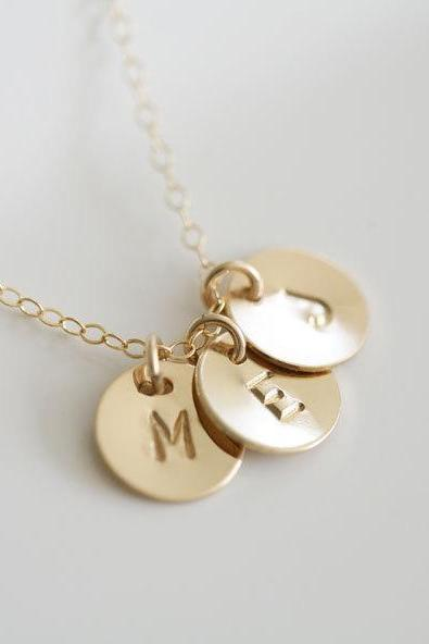 Three initials Gold Fill Necklace,Monogram Necklace,Simple daily Jewelry,Family,Couple,Sisterhood,Best Friends Necklace,Mother's Jewelry