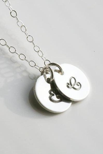 Two Initials Necklace,Sterling Silver,Couple,Birthday,Best Friend, Kid, Sisterhood, Mother's Jewelry