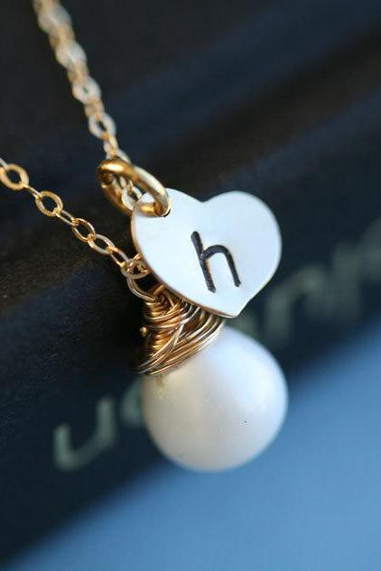 Gold heart necklace,Customize initial and Birthstone Gold Filled Necklace,anniversary,Bridesmaid gifts,wedding jewelry,bridal,monogrammed