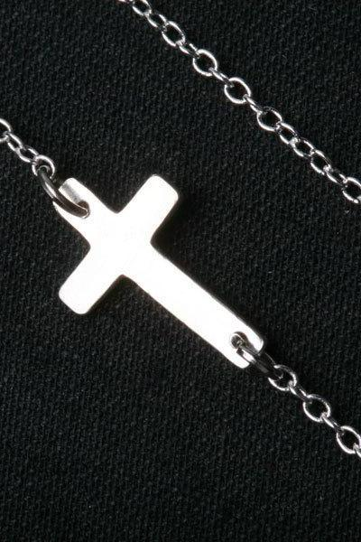 Sterling Silver Tiny Cross Necklace,Blessed necklace,Simly daily Jewelry,Sideways Cross