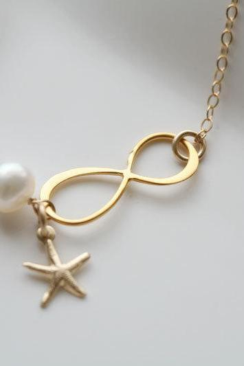 Gold Infinity necklace,Starfish necklace,Beach wedding,infinity necklace,bridesmaid gifts,sisterhood,customize birthstone,wedding