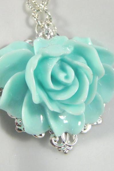 Big blue flower necklace, romantic jewelry