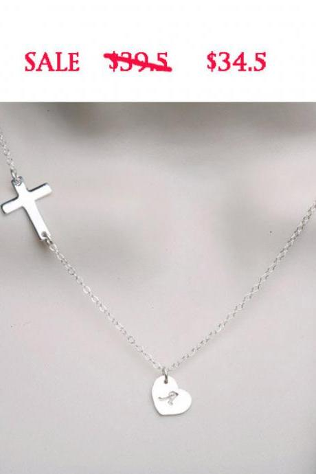 Sale-Sideways cross necklace with initial charm,hEART Initial necklace,Blessed,CUSTOM initial,Everyday,horizontal cross
