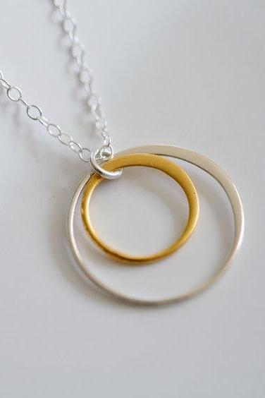 Gold mix silver,Circle necklace,Karma necklace,Best friends,Bridesmaid Gifts,Circle Eternity necklace,Sisterhood,Graduation