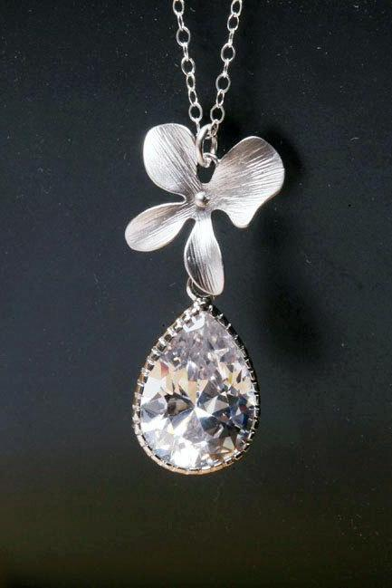 Orchid Necklace,Bridal Necklace,Large cubic zirconia teardrop,Bridesmaid gifts,Flower jewelry,Wedding jewelry