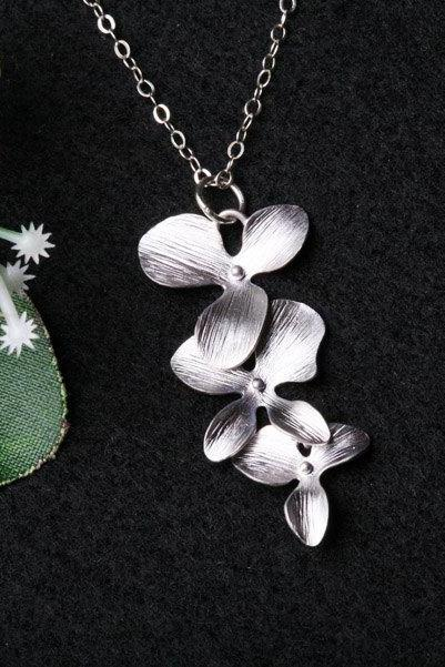 Orchid Flower Necklace,Triple Orchid flower on Sterling Silver Necklace,Flower girl gift,Birthday,Bridesmaid gifts,Wedding jewelry